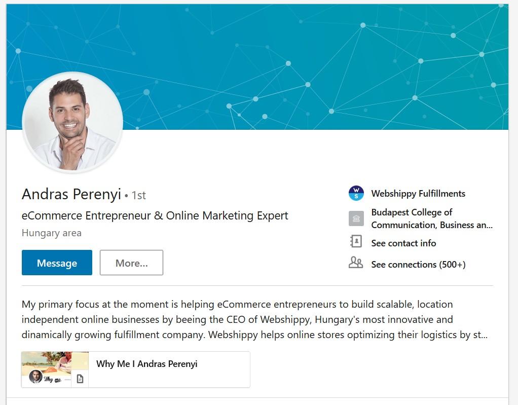 Perényi LinkedIn profil személyes márka példa